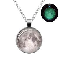 newchic Retro Luminous Moon Timer Necklace Sliver Alloy Sweater Necklace For Women Men