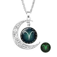 newchic Retro Style Pendant Necklace Luminous 12 Constellation Crescent Necklace Gift For Girl
