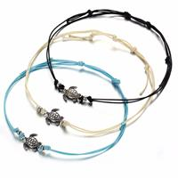 newchic Bohemian Turtle Anklets Adjustable Wax Rope Black Blue White Ankle Bracelet Ankle Ring Foot Jewelry