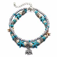 newchic Bohemian Beach Double Layer Anklet Yoga Sea Star Rice Bead Anklet For Women