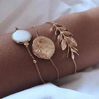 newchic 3 Pcs Bracelet Set Bohemian Gemstone Leaves Geometric Round Chain Bracelet Ethnic Jewelry for Women