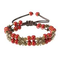 newchic Women's Ethnic Bracelet Flower Ceramics Beads Retro Rope Bracelet