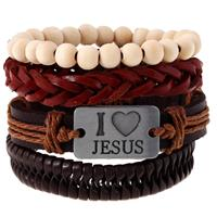 newchic Religious I Love Jesus Bracelet Cowhide Multilayer Wristband White Wood Bead Bracelet for Men