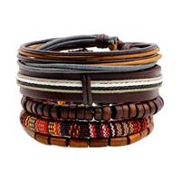 newchic Multilayer Wood Bead Bracelet Casual Fashion Braided Leather Bracelets for Men Women