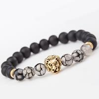 newchic Vintage Beaded Bracelets Agate Beads Alloy Lion Head Cuff Bracelets Ethnic Jewelry for Men
