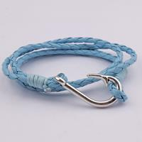 newchic Multi-layer Winding Bracelet Fish Hook Men Leather Rope Bracelet Alloy Decoration Bracelet