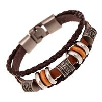 newchic Vintage Bangle Bracelet Leather Wave Braid Beaded Multilayer Cuff Bracelet Ethnic Jewelry for Men