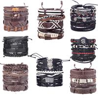 newchic Vintage Punk Bracelet Set Multi-layer Leaf Pendant Pu Leather Handmade Weaving Bracelet