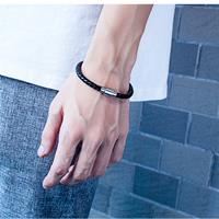 newchic Trendy Titanium Steel Men's Bracelet Hand-knitted Leather Bracelet Punk Jewelry