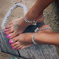 newchic Bohemian Bells Round Anklets Foot Chain Tassel Beach Barefoot Sandals Beach Ankle Bracelet Ring
