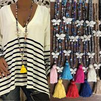 newchic Bohemian Butterfly Tassel Pendant Necklace Ethnic Handmade Transparent Bead Long Necklace