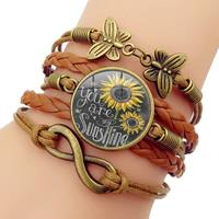 newchic Retro Butterfly 8 Word Combination Braided Bracelet Sun Flower Time Gemstone Decoration Multi-layer Bracelet