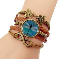 newchic Retro Amber Blue Dragonfly Braided Bracelet Time Gemstone Infinite Symbol Leather Bracelet