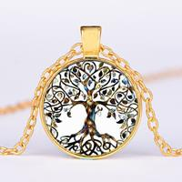 newchic Vintage Geometric Round Tree Of Life Gem Pendant Necklace Metal Colorful Glass Necklace