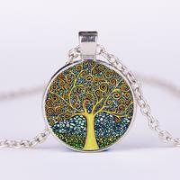 newchic Vintage Geometric Round Tree Of Life Gemstone Pendant Necklace Metal Colorful Glass Necklace