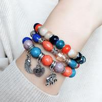 newchic Bohemian Metal Elephant Wing Pendant Bracelet Geometric Peach Heart Beaded Multi-layer Bracelet