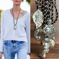 newchic 1Pc Trendy Vintage Ancient Silver Pendant Necklace Three-Dimensional Relief Zodiac Animals Pisces Women Sweater Chain