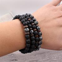 newchic 1PC Fashion Men Crystal Beaded Bracelet Natural Shining Stone Ountain Stone Black Iron Stone Bracelet