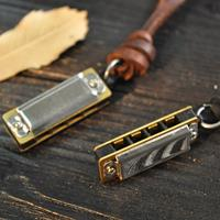 newchic Personality Vintage Men Women Necklace Mini Cowhide Chain Alloy Harmonica Pendant Necklace