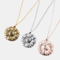newchic Vintage Special Sunflower Double Lettering Necklace You Are My Sunshine Open Pendant Necklace