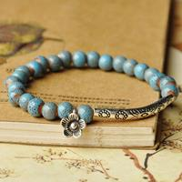 newchic Ethnic Hand-woven Ceramic Beads Bracelet Geometric Metal Flower Ceramic Beads Bracelet