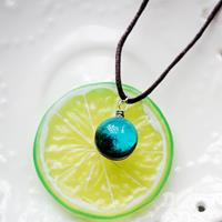 newchic Geometric Planet Pendant Necklace Universe Double-Sided Glass Epoxy Gems Women Sweater Chain Jewelry