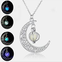 newchic Fashion Halloween Luminous Unisex Necklace Moon Pumpkin Hollow Pendant Necklace Jewelry Gifts