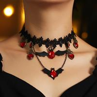 newchic Gothic Red Bat Halloween Necklace Lace Choker Heart Shaped Pendant Black Layered Necklace