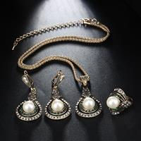 newchic 3 Pcs Vintage Gourd-Shape Women Jewelry Set Pearl Crystal Adjustable Necklace Ring Earrings Kit