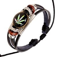 newchic Punk Multilayer Unisex Bracelets Wooden Beads Maple Leaf Casual Bracelet for Men Gift