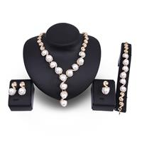 newchic 18K Gold Necklace Pearl Earrings Ring Rhinestone Wedding Party Jewelry Set Gift for Women