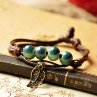 newchic Ethnic Cat Hand-woven Ceramic Beads Bracelet Geometric Hollow Leaves Pendant Bracelet