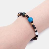 newchic Galaxy Solar System Bracelet Natural Stone Planets Earth Moon Unisex Elastic Rope Beads Bracelets