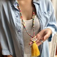 newchic Bohemian Colorful Turquoise Beaded Necklace Peace Sign Tassel Pendant Necklace Sweater Chain