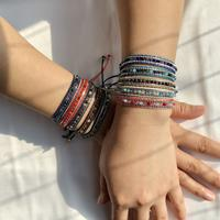 newchic 10 Colors Bohemian Crystal Beaded Bracelet Multilayer Rope Telescopic Adjust Women Bracelet