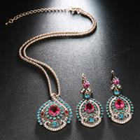 newchic 2 Pcs Vintage Women Jewelry Set Bohemian Bridal Crystal Wedding Necklace Earrings Jewelry