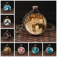 newchic Time Gem Men Women Necklace Adjustable Mountain Sea Printed Glass Pendant Necklace