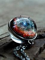 newchic Double-Sided Glass Ball Women Necklace Universe Galaxy Nebula Pendant Necklace Jewelry