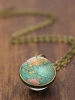 newchic Double-Sided Glass Ball Women Necklace World Map Pendant Necklace Sweater Chain