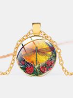 newchic Vintage Dragonfly Printed Women Necklace Adjustable Flower Glass Pendant Necklace