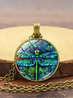 newchic Vintage Dragonfly Women Necklace Spring Garden Glass Pendant Necklace
