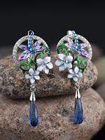 newchic Zircon Enamel Women Jewelry Set Epoxy Flower Dragonfly Pendant Engagement Earrings Necklace Ring