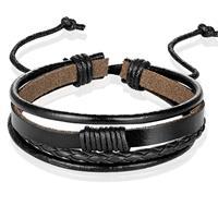 lgtjwls Heren armband Leer Zwart Verstelbaar Touw Multi armband