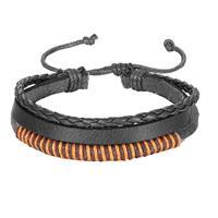 lgtjwls Leren armband Heren Verstelbaar Touw Zwart Bruin
