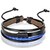 lgtjwls Heren armband Leer Zwart Blauw Verstelbaar Touw Multi armband