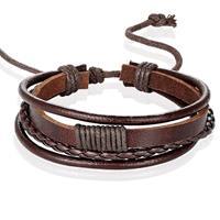 lgtjwls Heren armband Leer Bruin Verstelbaar Touw Multi armband