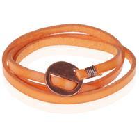 lgtjwls Leren Wikkelarmband LGT Jewels Verstelbaar Oranje