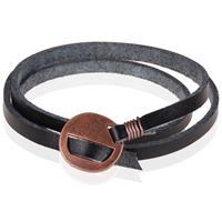 lgtjwls Leren Wikkelarmband LGT Jewels Verstelbaar Zwart