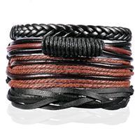 lgtjwls Heren armbanden Set Gevlochten leer Touw Zwart Bruin