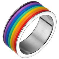 lookinggoodtoday Regenboog heren ring edelstaal Rubber 9mm-20mm